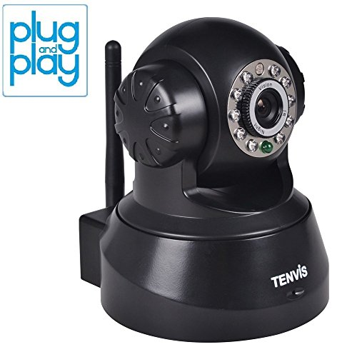 TENVIS JPT3815W Wireless IP/Network Security Surveillance Camera, Remote Video Monitoring, Screen Capture, Pan & Tilt, Plug & Play, with Two-Way Audio and Night Vision, Motion Detection with Instant Alert (Black)