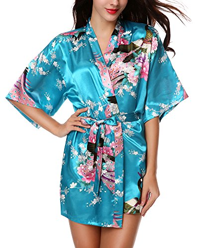 Avidlove Women's Kimono Robes Peacock and Blossoms Silk Nightwear Short Style