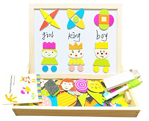 Wooden Jigsaw Puzzles Magnetic Toys Double Sided Easel Drawing Board Games for Kids
