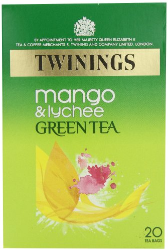 Twinings Mango and Lychee Green Tea 20 Bags (Pack of 4, total 80 Tea Bags)