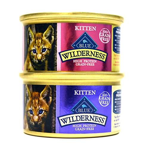 Blue Buffalo Wilderness Grain-Free Variety Pack Wet Kitten Food - 2 Flavors (Salmon & Chicken) - 12 (3 Ounce) Cans - 6 of Each Flavor