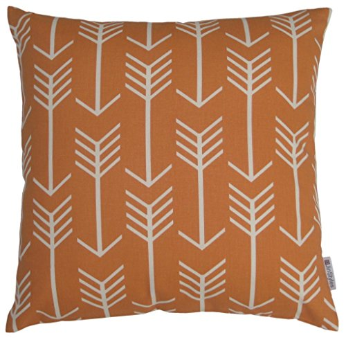 JinStyles Cotton Canvas Arrow Accent Decorative Throw Pillow Cover (Orange, White, Square, 1 Cushion Sham for 16 x 16 Inserts)