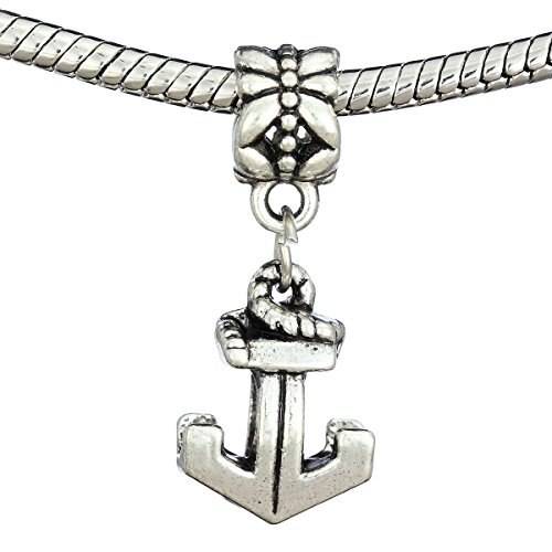 Cat Eye Jewels Anchor Silver Plated Dangle Charm (Free 2 Silicone Rubber) Fits Pandora Charms Bracelet Christmas Gift(AL-DG-011)
