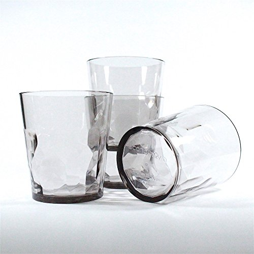 8 oz Premium Drinking Glasses - Set of 4 - Unbreakable Tritan Plastic - BPA Free - 100% Made in Japan (Smoky Gray)