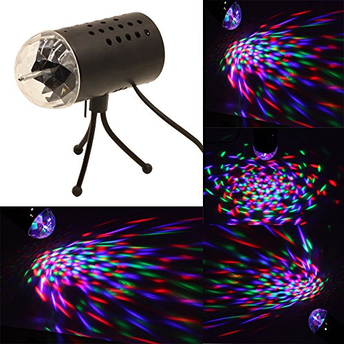 Coidea Rotating RGB LED 3D Effect Stage Light Party DJ Disco Lamp Dance Christmas New Year Home Party Clubbing Wedding Celebration