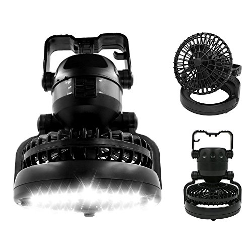 Camping Combo LED Lantern Fan, Bukm 2-in-1 18 LED Flashlight Ceiling Fan for Outdoor Hiking Fishing Outages Emergencies Tent