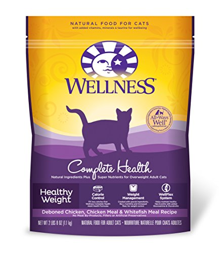 Wellness Complete Health Natural Dry Healthy Weight Cat Food, Chicken & Whitefish, 2.5-Pound Bag