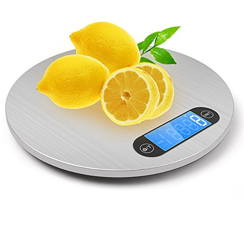 Food Scale - Warmhoming Multifunction Digital Kitchen Scale with Hanger for Easy Storage - High Precision with Backlit and Stainless Steel (11lb/5kg)