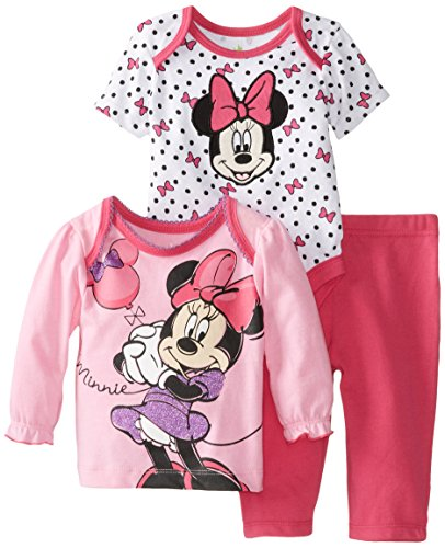 Disney Baby Baby-Girls Minnie Mouse Three-Piece Top, Bodysuit, and Pant Set