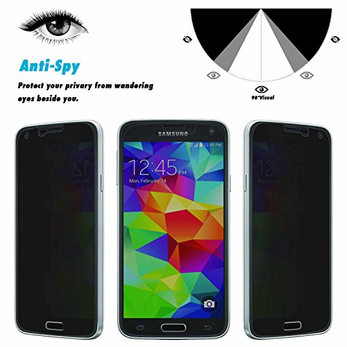Samsung S5 Screen Protector,TWOBIU(TM) Anti-Spy Privacy Anti Peeping Screen Protector Anti Fingerprint Scratch Clarity 99% Touch-screen Accurate Shatterproof Tempered Glass for Samsung S5