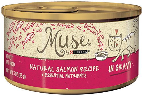 Muse by Purina Natural Salmon Recipe + Essential Nutrients in Gravy Adult Cat Food, 3-Ounce Can, Pack of 24