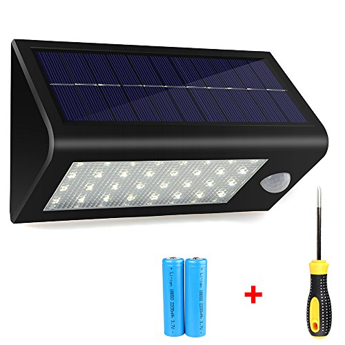 Solar Lights,400 Lumens Solar Powered Motion Sensor Light,32 LED Rechargeable Waterproof Outdoor Wireless Wall/Step/Porch/Pathway/Garden/Street Security Lighting(Screwdriver Included)-1Pack