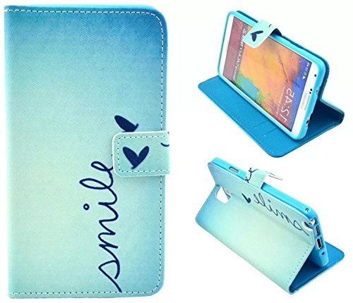 Note 3 Case,Galaxy Note 3 Case, Welity Smile Butterfly Pattern Design Pu Leather with wallet Case for Samsung Galaxy Note 3 Note III N9000 and one gift