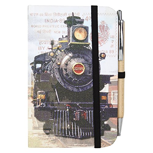 Handmade Paper Journal Notebook for Men Women Paper Diary (6x4x0.5 Small) Steam Engine Print