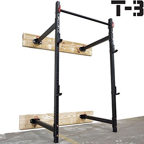 Titan Fitness T-3 Series Fold Back Power Rack 41 Deep Wall Mounted Laser Cut