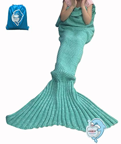 LAGHCAT Mermaid Tail Blanket with the Ruffles on Top Knit Crochet and Mermaid Blanket for Kids,Sleeping Blanket (56X28, Kids Green)