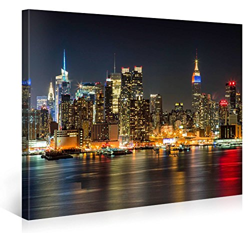 MANHATTAN NIGHT LIGHTS - Premium Canvas Art Print - 40x30 inch Large New York Cityscape Wall Art Deco - Canvas Picture Stretched on Wooden Frame as Modern Gallery Artwork / e4349