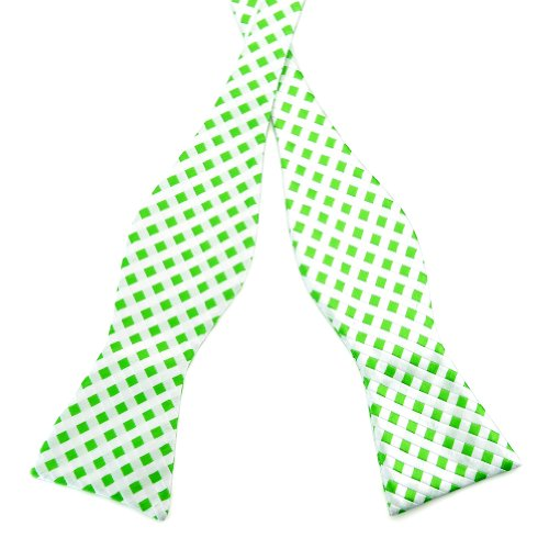 PenSee Mens Self Bow Tie Green & White Plaids Checked Woven Silk Bow Ties