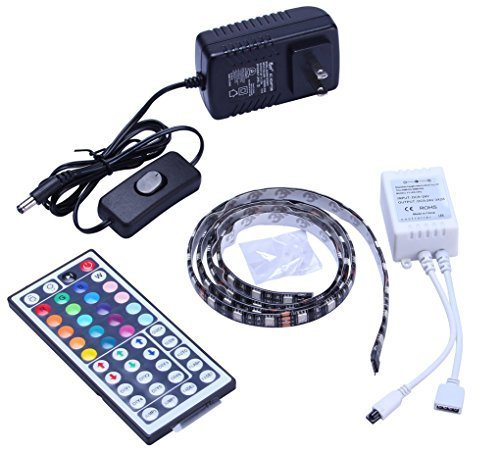 Tingkam® 1M 5050 RGB Colour Changing LED Strip Kit 44 Key Remote Controller 1.5A US Plug Power Supply Mood Lights for Cabinet Dispaly/TV Back Decoration