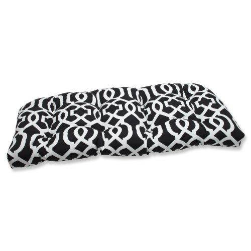 Pillow Perfect Outdoor New Geo Wicker Loveseat Cushion, Black/White