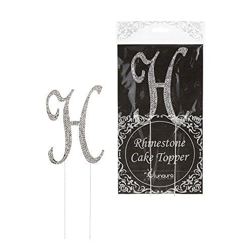 Lunaura - Sparkling Rhinestone Letter Cake Topper - H