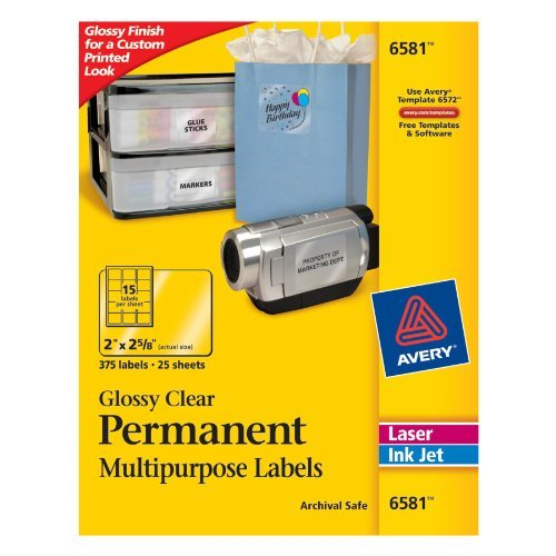 Avery 6581 Permanent I.D. Labels- 2 x 2 5/8- Clear- 150/Pack