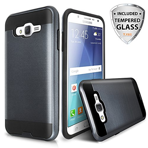 Galaxy On5 Case With TJS® Tempered Glass Screen Protector Included, Dual Layer Shockproof Hybrid Armor Drop Protection Metallic Brushed Finish Case Cover For Samsung Galaxy On5/G550 (Grey)