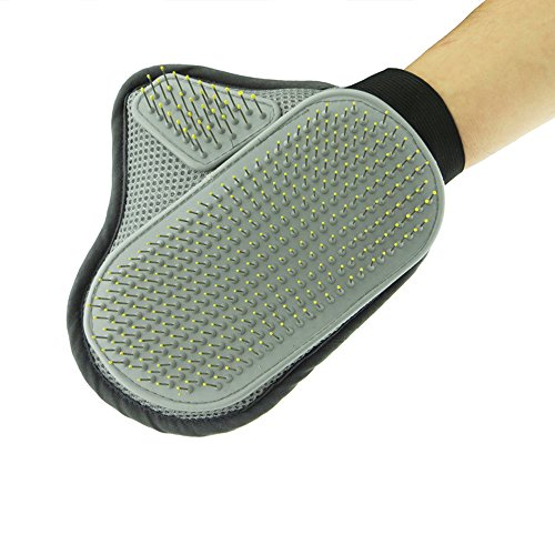 Parateck® Pet Grooming Brush Glove Cats Dogs Shedding Tool Bath Massage Mitt for Long Short Fur Mat Undercoat Animal Comb Wet or Dry Hair