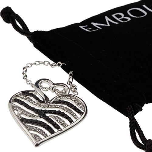 Silver Iced Out Crystal Black and White Heart Pendant I Love You Necklace Anniversary Gift for Girlfriend