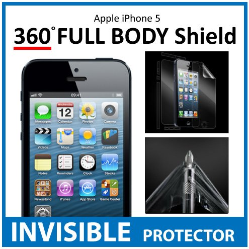 iPhone 5 Full Body INVISIBLE Screen Protector (Front, Back & Side Shields included) 360 Military Grade