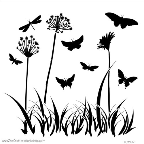 Crafters Workshop Template, 12 by 12-Inch, Butterfly Meadow