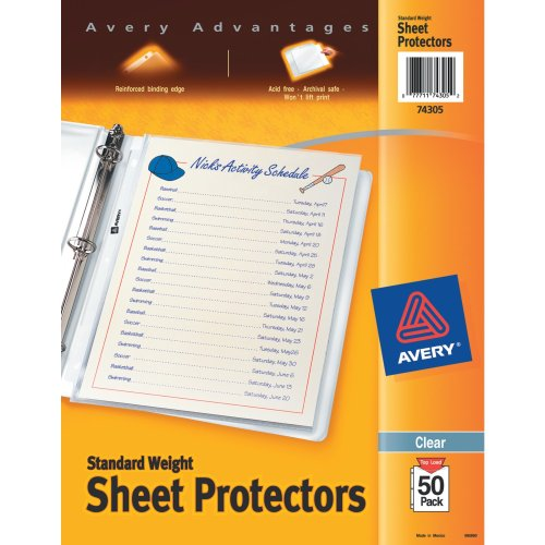 Avery Standard Weight Sheet Protectors, Pack of 50 (74305)