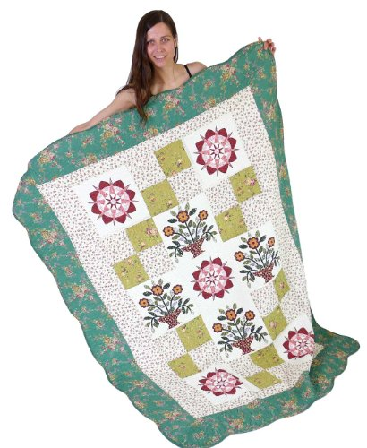 Squish Antique Patchwork Quilted Oversize Throw 55x70-Inch - Greentree