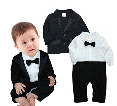 Baby Boys Tuxedo Wedding Romper and Jacket 2-pc Formal Wear Suit
