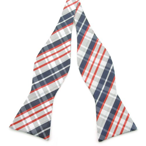 PenSee Mens Self Bow Tie Red & Grey & Navy Plaids Woven Silk Bow Ties