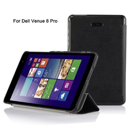 IVSO Dell Venue 8 Pro (Windows 8.1) & Dell venue 8 pro windows 10 8-Inch Android Ultra Lightweight Slim Smart Cover Case- Slim Shell case (Black)