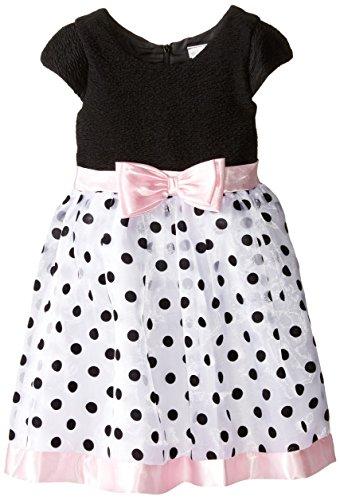 Sweet Heart Rose Little Girls' Novelty Knit Bodice Flock Dot Occasion Dress