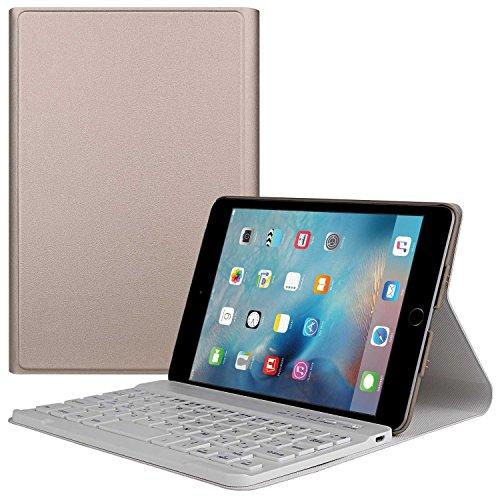 TWOBIU(TM) Ipad mini 4 Bluetooth Keyboard Ipad Mini Bluetooth keyboard Case, Leather Pouch with 360 Degree Rotating Stand Case Cover Wake/ Sleep and Elastic Band-Gold