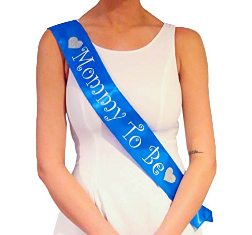 Blue Mommy To Be Sash - Baby Shower Decorations for Boy
