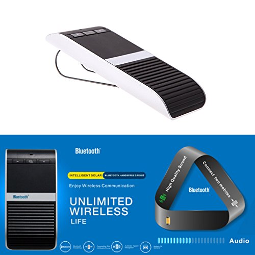 KKmoon Wireless Bluetooth Car Speakerphone Kit Hands Free Speakerphone Solar Powered Speaker Phone Handsfree With Car Charger