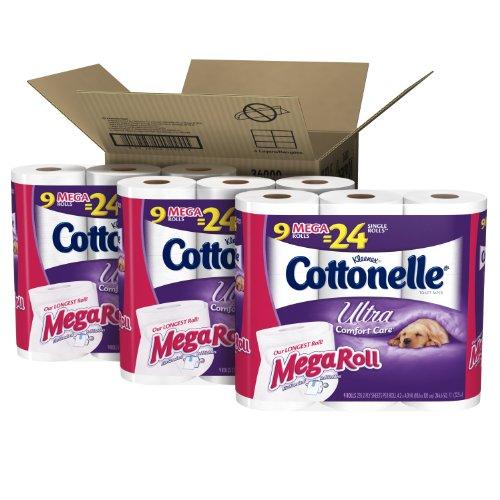Cottonelle Ultra Comfort Care Mega Roll Toilet Paper, 9 Rolls, Pack of 3, (27 Rolls)