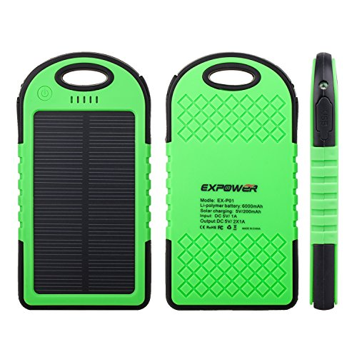 Expower(R) Solar Panel waterproof shockproof Charger 5000mAh Portable Charger Backup External Battery Power Pack for iPhone 5S 5C 5 4S 4, iPad Air, Other iPads, iPods(Apple Adapters not Included), Samsung Galaxy S4, S3, S2, Note 3, Note 2, Most Kinds of Android Smart Phones and More Other Devices (Green)