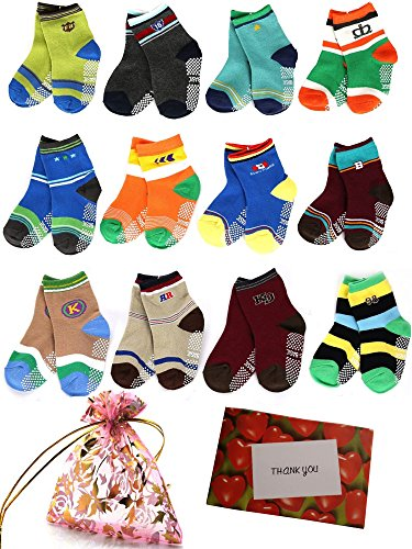 BS® 6 Pairs 1-3 Years Baby Boy's Toddler Anti Skid Slip Slipper Stretch Knit Socks + Gift bag + Gift Card, Footsocks sneakers Socks, Sole Length 12cm/4.72inch