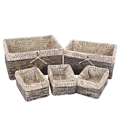Nesting Basket - Decorative Utility Storage Baskets Rectangular Home Living Room Bin - Grey - 5 Piece Set