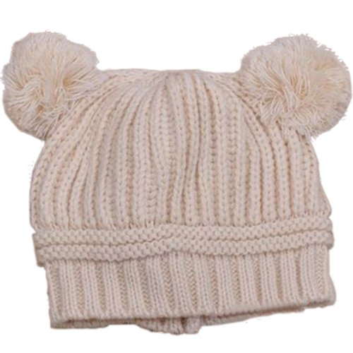 Baby Girls Boys Kids Knit Cap Winter Warm Hat (Beige.)