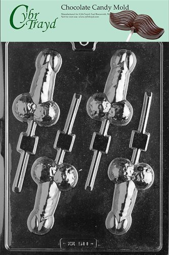 Cybrtrayd XX511 Medium Pecker Pop Chocolate Candy Mold with Exclusive Cybrtrayd Copyrighted Chocolate Molding Instructions