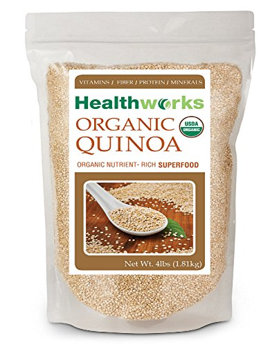 Quinoa 4lbs 100% USDA Certified Organic White Whole Grain Quinoa by Healthworks