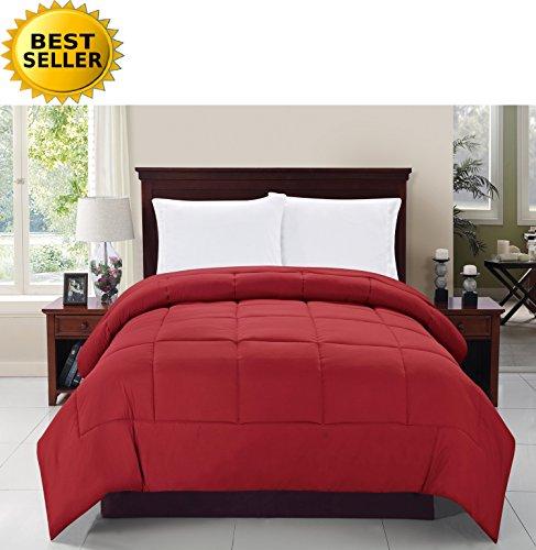 Celine Linen® Luxury Ultra Plush Down Alternative Double-Filled Comforter %100 HypoAllergenic, Full/Queen , Burgundy