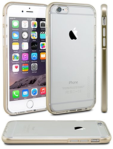 iPhone 6 Case, Case Ace® [Crystal Clear Cushion] iPhone 6 (4.7) Case Bumper [Lifetime Warranty] Shock-Absorption Bumper and Anti-Scratch Crystal Clear Hard Silicone TPU Back Panel Protective Cover - Slim Clear Bumper Case for iPhone 6 (4.7 inch) (2014) (Gold)