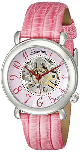 Stuhrling Original Women's 108.1215A9 Classic Metropolis Wall Street Automatic Skeleton Pink Watch